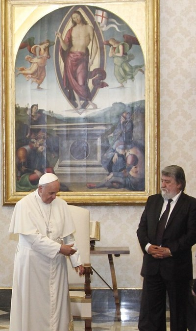 Вежди Рашидов на аудиенция при папа Франциск през май 2015 г.