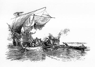 Хайдушки гемии атакуват турска галера, гравюра от 19-и век