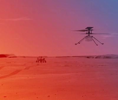 """Хеликоптерът, който прилича на дрон, стигна до Марс с роувъра """"Пърсивиърънс"""" и беше спуснат на повърхността на планетата в началото на април. Марсоходът кацна на Червената планета на 18 февруари. СНИМКА: НАСА"""