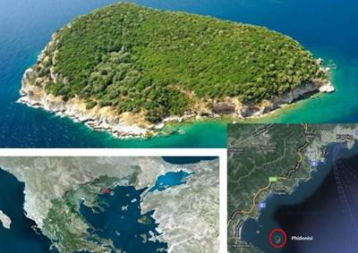 Това е остров Фидониси, за който българска агенция е пуснала на сайта си обява, че се продава за 3,5 млн. евро. Той се намира на близо 300 км от София - в Източна Македония, в залива на Неа Ираклица до Кавала.