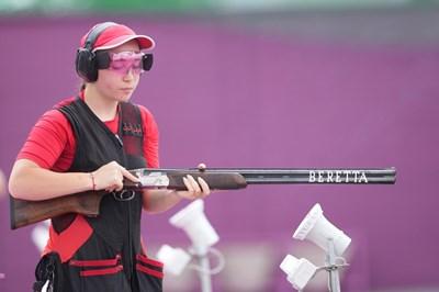 Селин Али по време на квалификациите в дисциплината трап на олимпийските игри в Токио. СНИМКА: ЛЮБОМИР АСЕНОВ, LAP.BG