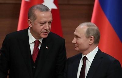 Турският президент Реджеп Тайип Ердоган и руският президент Владимир Путин СНИМКА: Ройтерс