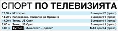 Спорт по тв днес: Пиронкова срещу Серена Уилямс от 19 ч в Ню Йорк, още тенис, футбол от МЛС, колоездачна обиколка на Франция, мотокрос