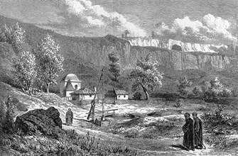 """""""Светилището на Демир Баба (Железния баща)"""", гравюра от Феликс Каниц, 1870 г."""