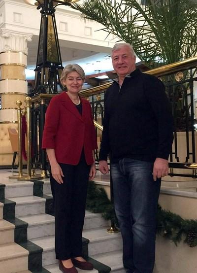Здравко Димитров и Ирина Бокова се срещнаха в Санкт Петербург.