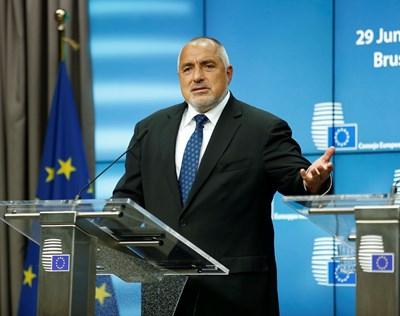 Бойко Борисов на пресконференцията в Брюксел СНИМКА: пресслужбата на кабинета