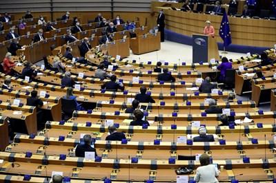 Пленарната зала на ЕП в Брюксел СНИМКА: РОЙТЕРС
