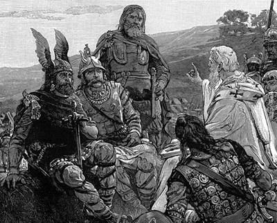 Епископ  Вулфила  проповядва Евангелието  на готите.  Гравюра  от ХIХ век.