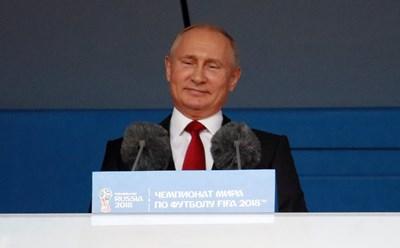 "Путин открива световното по футбол та ""Лужники"". Снимка РОЙТЕРС"