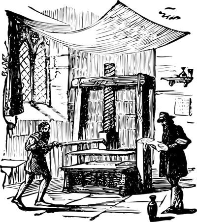 Гравюра показва как е работила пресата на Гутенберг.