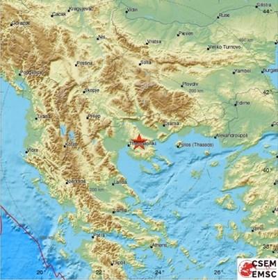 Епицентърът край Солун КАРТА: Европейски сеизмологичен център
