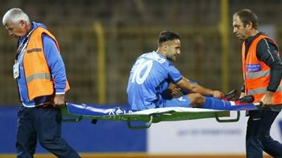 """Борислав Цонев  увреди лявото си коляно по време на двубоя срещу """"Ботев"""" (Враца), завършил 0:0."""