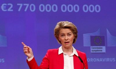 Урсула фон дер Лайен обяви мерки за подпомагане на европейската икономика. СНИМКА: РОЙТЕРС