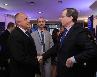 Премиерът Бойко Борисов се срещна с директора на Американския еврейски комитет Дейвид Харис по време на визитата си в Тел Авив.  СНИМКА: ПРАВИТЕЛСТВЕНА ПРЕССЛУЖБА