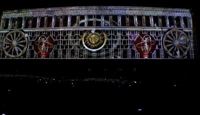 Върху фасадата на Министерския съвет беше прожектиран спектакъл, който разказва за европейското културно наследство. Кадър: Фейсбук