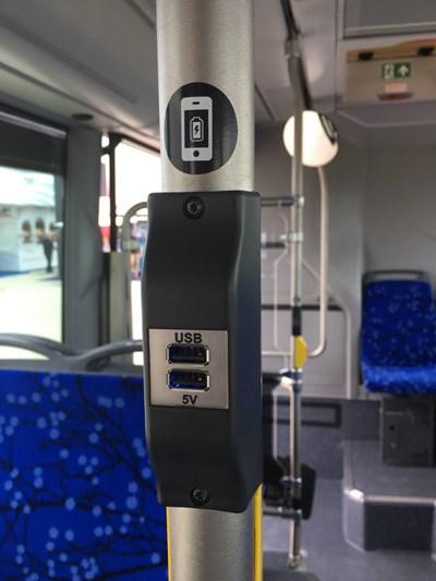 Устройства за зареждане на мобилни телефони ще бъдат монтирани в новите автобуси на столичния градски транспорт.