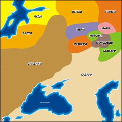 Картата показва етническия състав на населението в Източна Европа към XII-XIII век при Великото преселение на народите от Азия