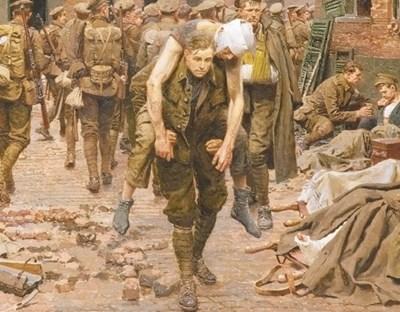 """Картината """"Кръстопътят на Менин"""", нарисувана от италианския художник Фортунино Матания. Войникът, който носи ранения си другар на преден план, е именно Хенри."""