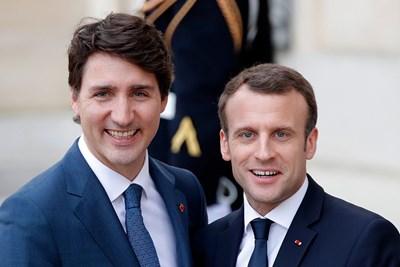 Канадският премиер Джъстин Трюдо и френският президент Еманюел Макрон СНИМКА: Ройтерс