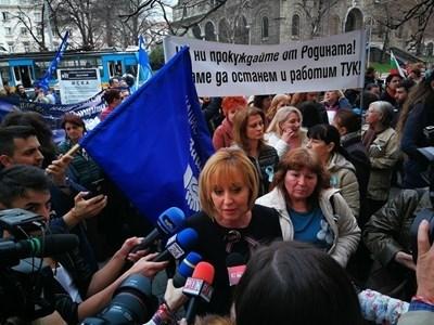 Мая Манолова при протестиращите СНИМКА: Пиер Петров