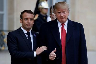 Френският президент Еманюел Макрон с американския си колега Доналд Тръмп след срещата в Елисейския дворец СНИМКА: Ройтерс