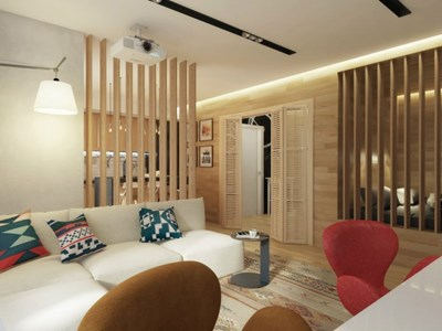 Малкото жилище е с еко привкус и стилни решения от дърво