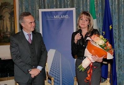 Италианският посланик Стефано Балди и Дария Карапеткова на церемонията в петък вечерта. СНИМКА: Пиер Петров