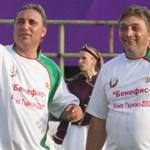 Трифон Иванов на бенефиса си през 2008 г. с Христо Стоичков