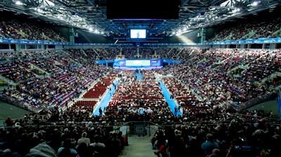 """За откриване на кампаниите на ГЕРБ """"Арена Армеец"""" се препълва. СНИМКА: Дeсислава Кулeлиeва"""