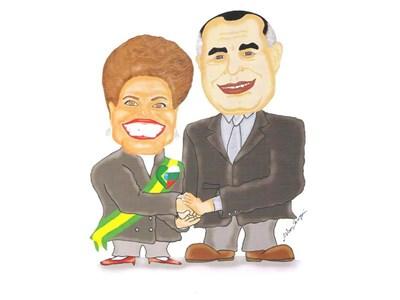 Бразилската президентка е изобразена как стиска ръката на Бойко Борисов.