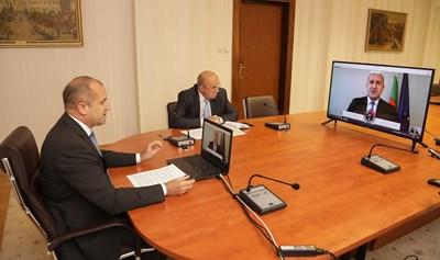 """Радев участва в събитието на високо равнище на ООН на тема """"Финансиране на развитието в епохата на COVID-19 и отвъд"""", което се осъществи чрез видеоконферентна връзка. Снимка прессекретариат на президента"""