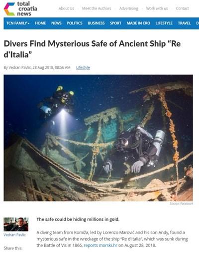 Водолази откриха в останки от кораб  сейф, в който според  легендите има голямо количество злато. Факсимиле: total-croatia-news