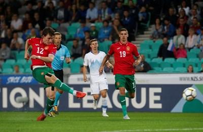 Божидар Краев отбелязва първия си гол във вратата на Словения. СНИМКА: РОЙТЕРС