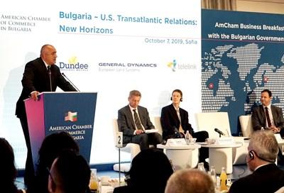 Премиерът Бойко Борисов обясни пред американския бизнес у нас, че износът ни за САЩ е по-голям от вноса. СНИМКА: Десислава Кулелиева