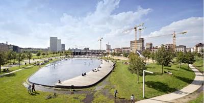 Един от новите паркове в Антверпен