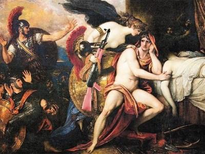 """По картината на Бенджамин Уест """"Тетис носи оръжие на опечаления Ахил"""". КОЛАЖ: """"24 ЧАСА"""""""