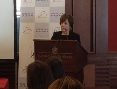 Марджъри Марголис говори пред конференцията в София.