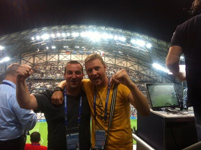 """Димитър Тренев и Илиян Енев на """"Велодром"""" по време на полуфинала на Евро 2016 Франция - Германия."""