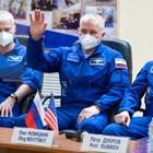 "Тричленният екипаж на кораба ""Ю.А.Гагарин"" Снимка: Роскосмос"