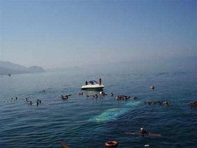Оцелели плуват сред отломки, а от дъното прозира силуетът на потъналия кораб