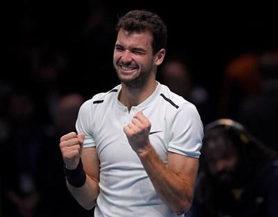 Григор Димитров след грандиозната победа на финала в Лондон Снимка: Ройтерс