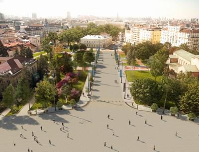 """Така ще изглежда пешеходната зона пред храма """"Св. Ал. Невски"""" в София.  СНИМКА: АДА"""