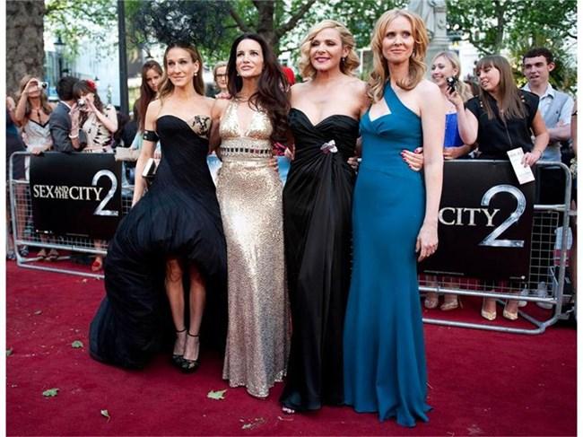 """Сара Джесика Паркър, Ким Катрал, Кристин Дейвис и Синтия Никсън на премиерата на """"Сексът и градът 2"""". СНИМКА: БУЛФОТО"""