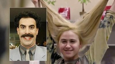 Борат и дъщеря му, изиграна от българската актриса Мария Бакалова.