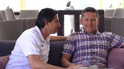 """Спортният директор на """"Левски"""" Даниел Боримиров и бившият му съотборник в """"синия"""" тим Игор Томашич се срещнаха в хотела в Сплит."""