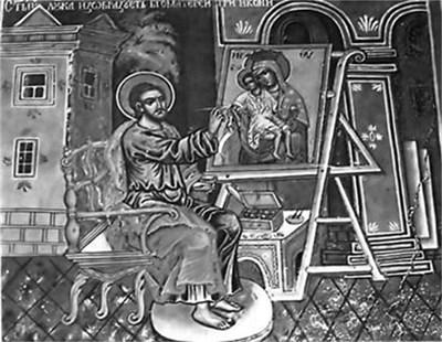 Апостол Лука рисува иконата на света Богородица с Младенеца. Стенопис от 1799 г. в Рилския манастир