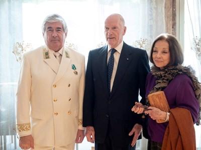 Посланик Анатолий Макаров заедно с Симеон Сакскобургготски и жена му Маргарита. СНИМКА: РУСКО ПОСОЛСТВО