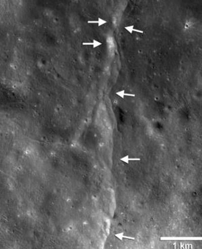 """Лунотресения, регистрирани от апарата """"Лунар рикънисънс орбитър"""" СНИМКА: НАСА"""