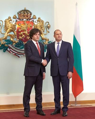 Румен Радев и председателят на парламента на Грузия Иракли Кобахидзе СНИМКИ: прессекретариатът на президентството