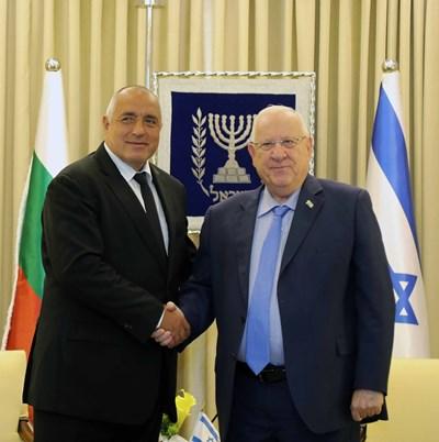 Бойко Борисов по време на срещата си с президента на Държавата Израел Реувен Ривлин. Снимки правителствена пресслужба